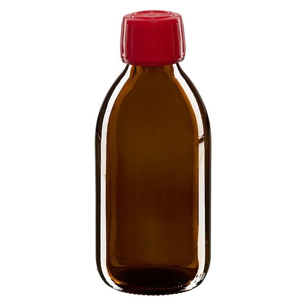 250ml Euro-Medizinflasche braun mit rotem Schraubverschluss OV