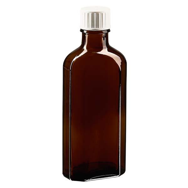100 ml braune Meplatflasche mit DIN 22 Mündung, inkl. Schraubverschluss DIN 22 weiss mit Giessring