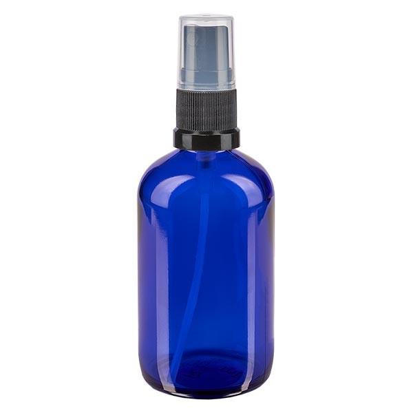 Blauglasflasche 100ml mit Pumpzerstäuber schwarz