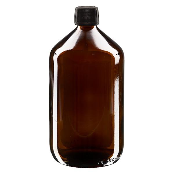 1000ml Euro-Medizinflasche braun mit schwarzem Schraubverschluss OV