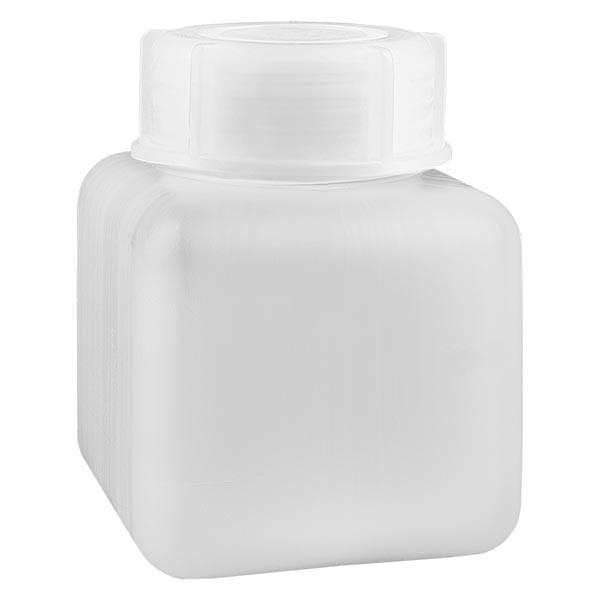 Chemikalienflasche 500ml, Weithals aus PE-HD, naturfarbig, inkl. Schraubverschluss GL 65