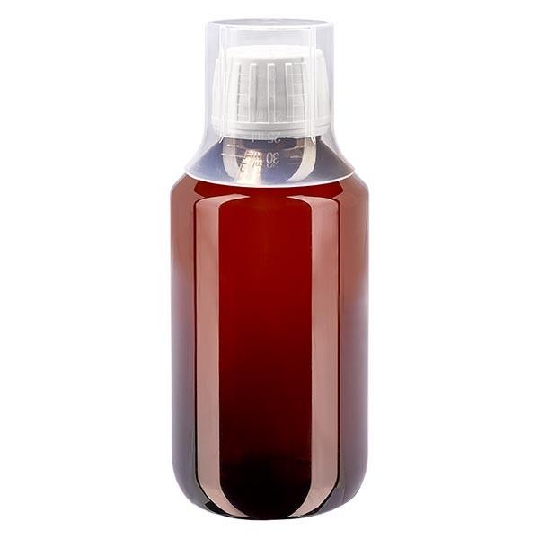 200 ml PET Medizinflaschen mit weißem Schraubverschluss OV und Dosierbecher 30ml Naturfarbe