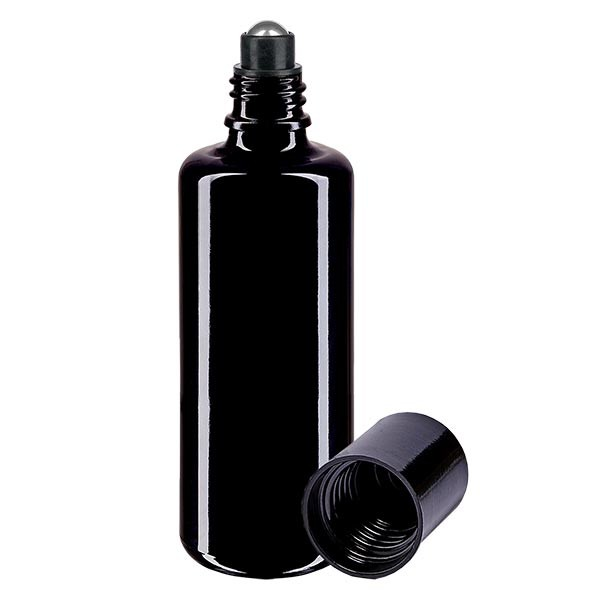 Glas Deostick Flasche violett 50ml, leerer Deo Roller (Roll On)