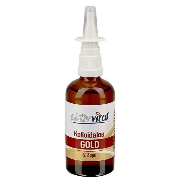 100 ml Kolloidales Gold Aktiv-Vital, 2-3ppm, Braunglasflasche mit Nasenzerstäuber