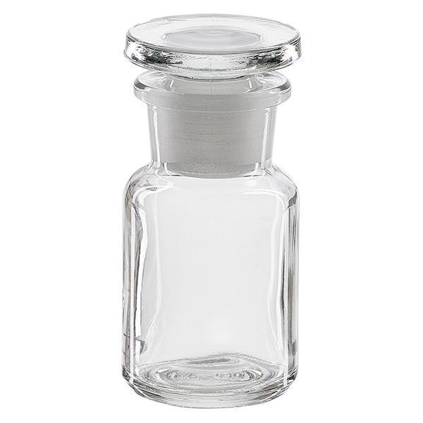 Apothekerflasche 50 ml Weithals Klarglas inkl. Glasstopfen