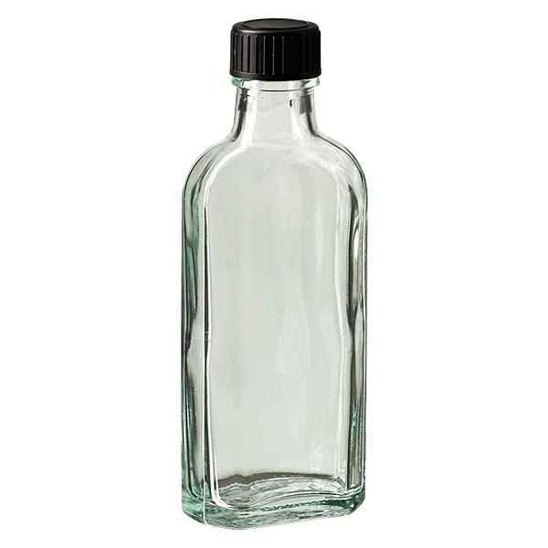 100 ml weiße Meplatflasche mit DIN 22 Mündung, inklusive Schraubverschluss DIN 22 schwarz aus EPE