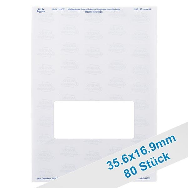 80 Etiketten, weiß, wieder ablösbar 36x17mm