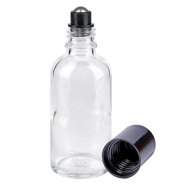 Glas Deostick Flasche klar 50ml, leerer Deo Roller (Roll On)
