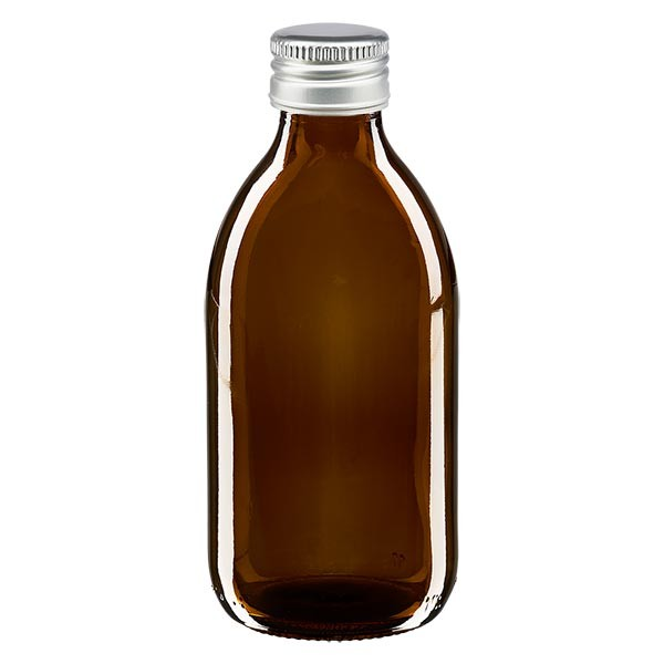 250ml Euro-Medizinflasche braun mit silbernem Aluminiumverschluss