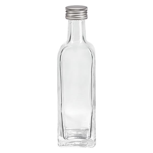 60ml Likörflasche eckig Klarglas inkl. Alu Schraubverschluss Silber (PP 18mm)
