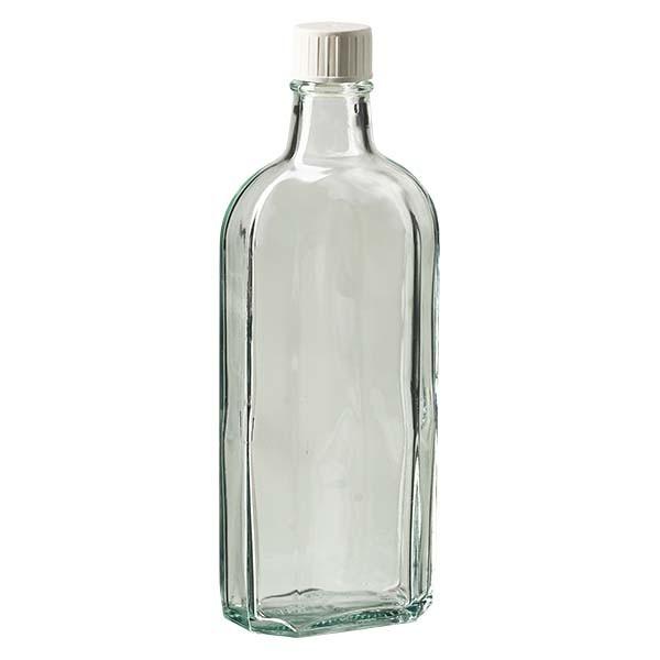 250 ml weiße Meplatflasche mit DIN 22 Mündung, inkl. Schraubverschluss DIN 22 weiss mit Giessring