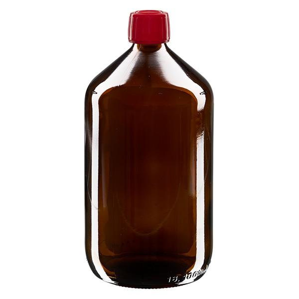 1000ml Euro-Medizinflasche braun mit rotem Schraubverschluss OV