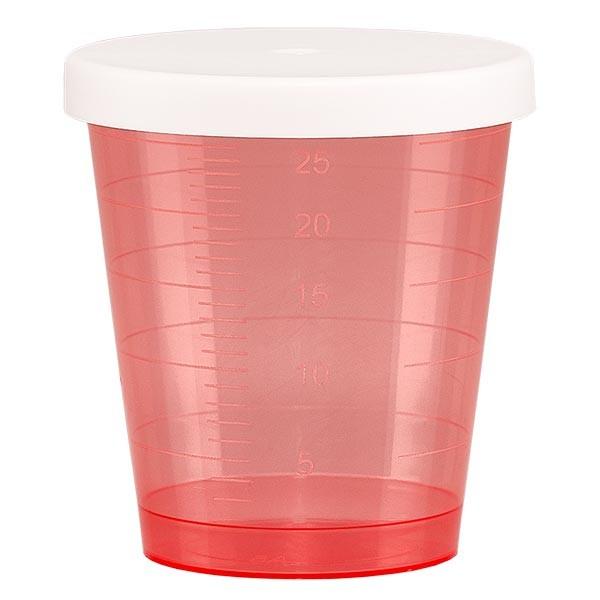 Medikamentenbecher 30ml inkl. Schnappdeckel (Medizinbecher/Schnapsbecher) Farbe: rot