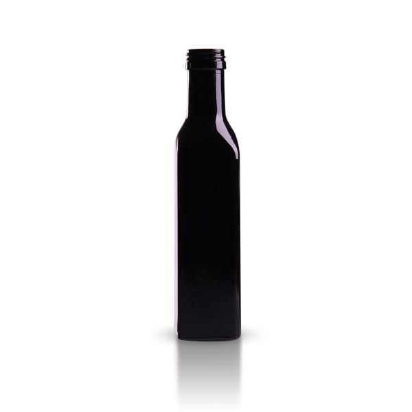 Oelflasche Violettglas eckig 250 ml