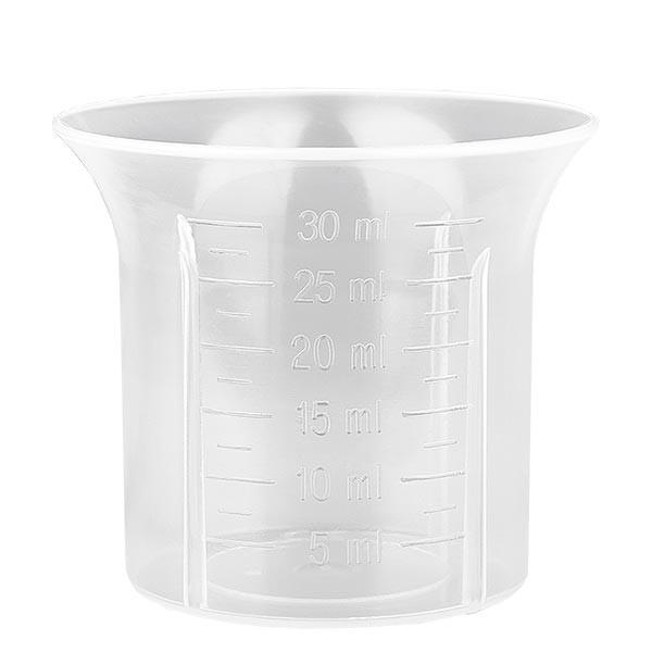 30 ml naturfarbenen Dosierbecher für Schraubverschluss weiß 28mm Skalierung ab 5ml in 2,5 ml-Schritt