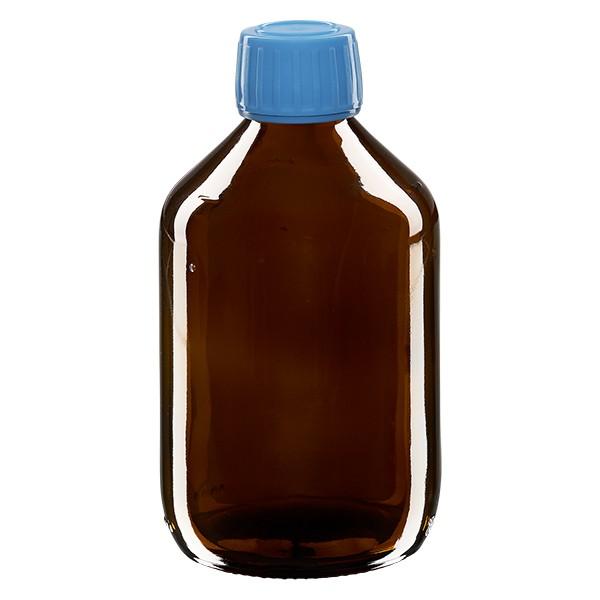 300ml Euro-Medizinflasche braun mit blauem Schraubverschluss OV