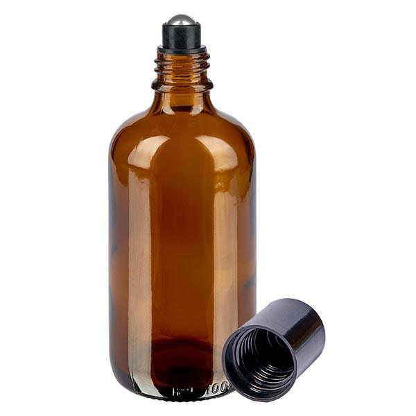 Glas Deostick Flasche braun 100ml, leerer Deo Roller (Roll On)