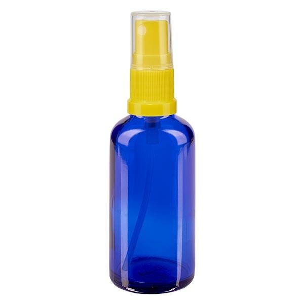 Blauglasflasche 50ml mit Pumpzerstäuber gelb
