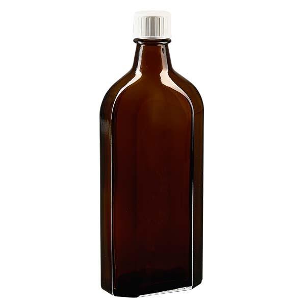 250 ml braune Meplatflasche mit DIN 22 Mündung, inkl. Schraubverschluss weiss mit Giessring