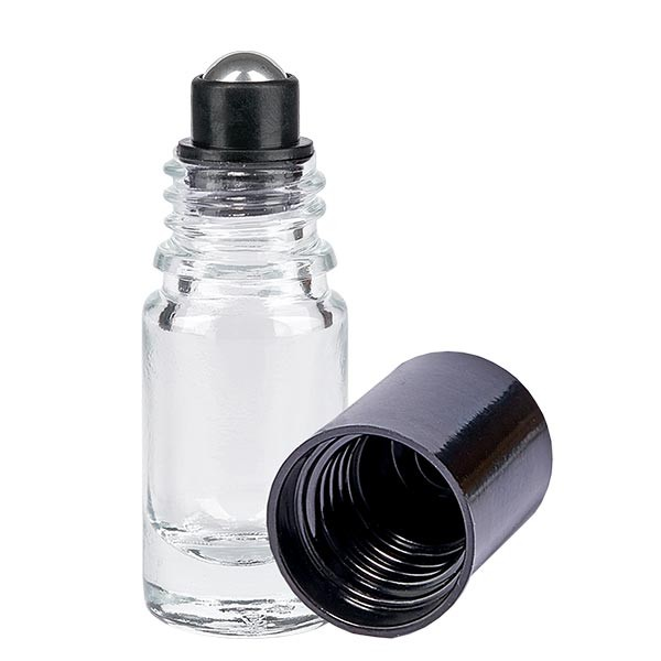 Glas Deostick Flasche klar 5ml, leerer Deo Roller (Roll On)