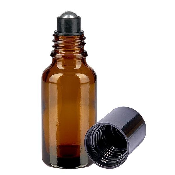 Glas Deostick Flasche braun 20ml, leerer Deo Roller (Roll On)