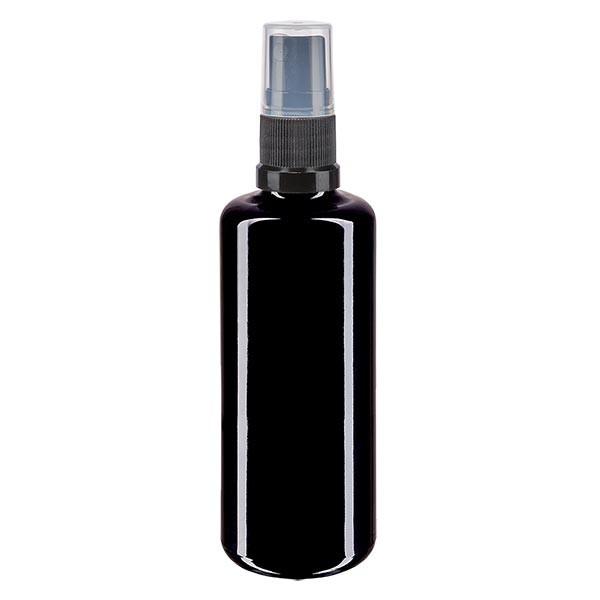 Violettglasflasche 100ml mit Pumpzerstäuber schwarz