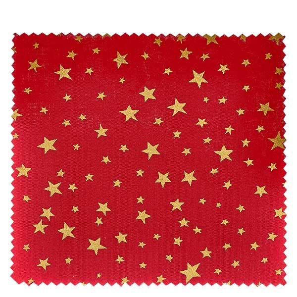 1 x Stoffdeckchen 150x150mm rot mit goldenen Sternen für Deckel Durchmesser 43-100mm