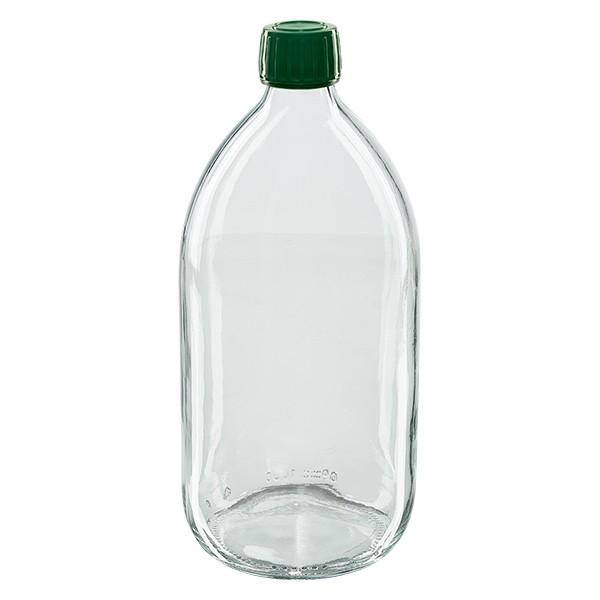 1000ml Euro-Medizinflasche klar mit grünem Schraubverschluss OV