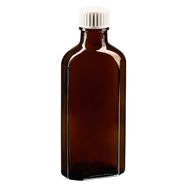100 ml braune Meplatflasche mit DIN 22 Mündung, inklusive Schraubverschluss DIN 22 weiss aus PP mit