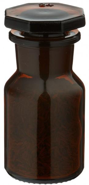Gewürzglas Idee: 50 ml Steilbrustflasche Weithals Braunglas inkl. Glasstopfen