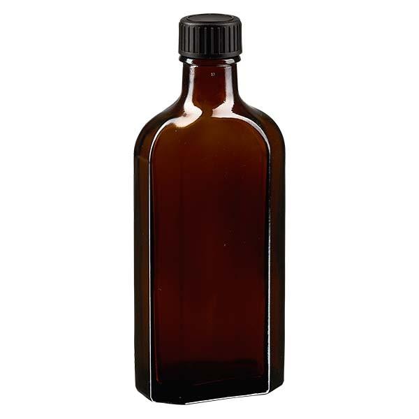 150 ml braune Meplatflasche mit DIN 22 Mündung, inklusive Schraubverschluss DIN 22 schwarz aus LKD