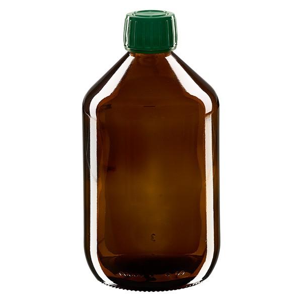 500ml Euro-Medizinflasche braun mit grünem Schraubverschluss OV