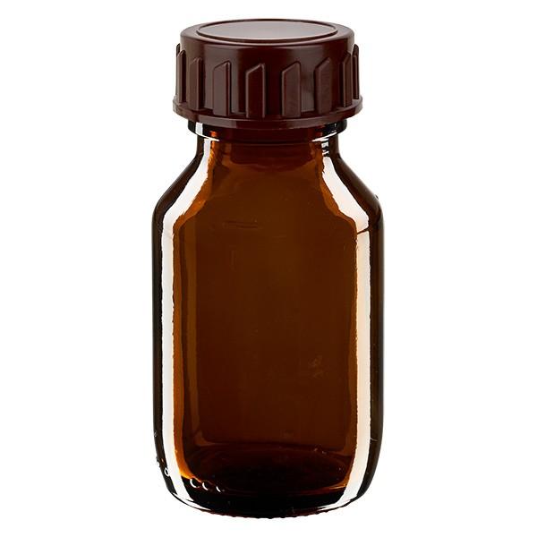 50ml Euro-Medizinflasche braun mit braunem Verschluss