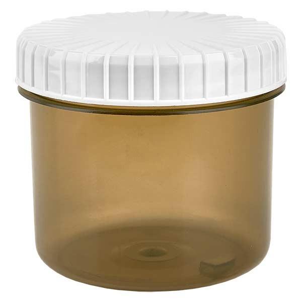 Kunststoffdose 135ml Shadow mit gerilltem weissen Schraubdeckel aus PE, Verschlussart Standard