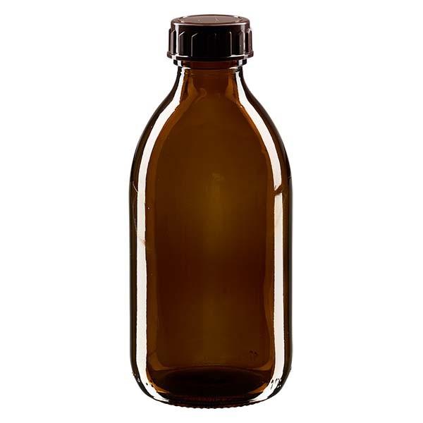 250ml Euro-Medizinflasche braun mit braunem Verschluss