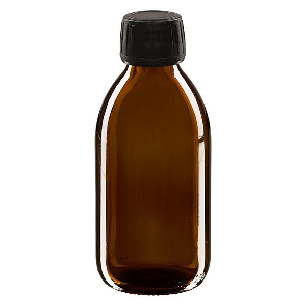 250ml Euro-Medizinflasche braun mit schwarzem Schraubverschluss OV