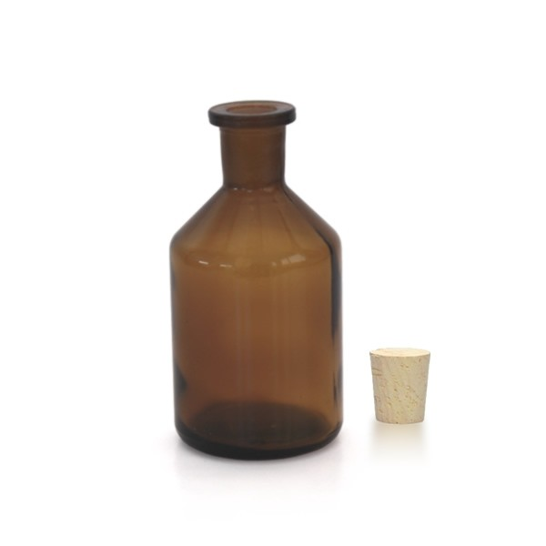 100 ml Steilbrustflasche Enghals Braunglas inkl. Korken