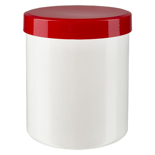 Salbenkruke 800g weiss mit Schraubdeckel rot (PP)