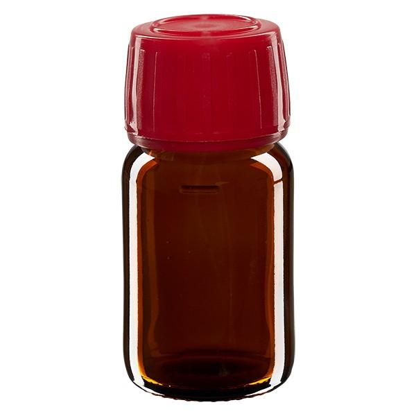 30ml Euro-Medizinflasche braun mit rotem Schraubverschluss OV