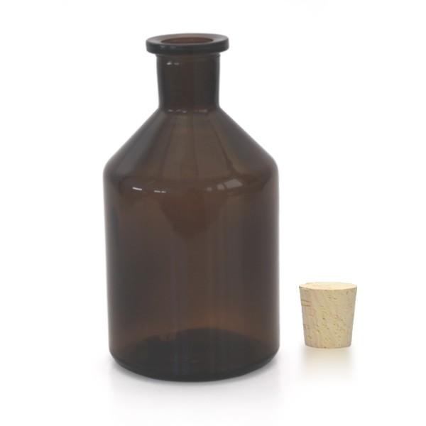 250 ml Steilbrustflasche Enghals Braunglas inkl. Korken