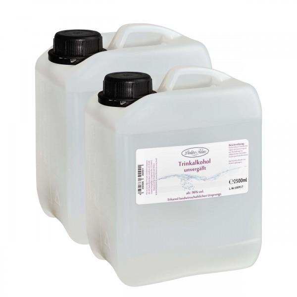 5000ml Primasprit 96% vol. Alc. in zwei transparenten PE-HD Kanister (Weingeist Trinkalkohol)