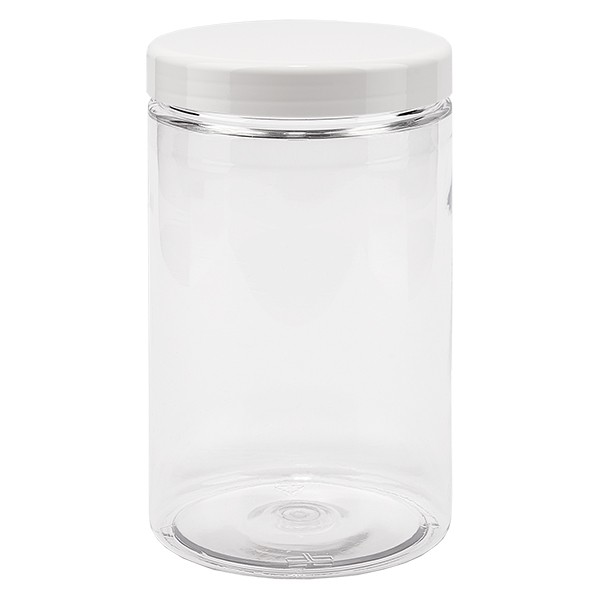 PET Schraubdose 400 ml klar inkl. weissem Deckel