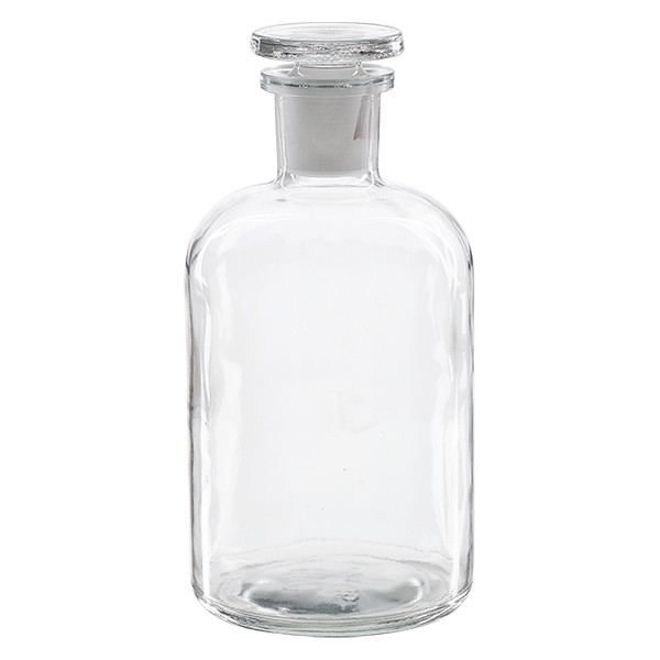 Apothekerflasche 500 ml Enghals Klarglas inkl. Glasstopfen