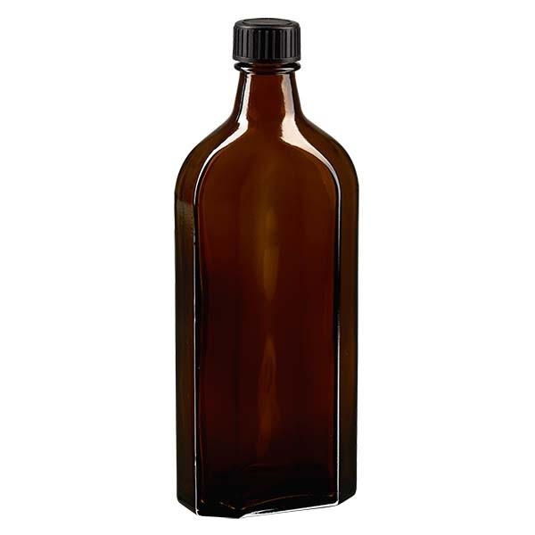 250 ml braune Meplatflasche mit DIN 22 Mündung, inklusive Schraubverschluss DIN 22 schwarz aus PP mi