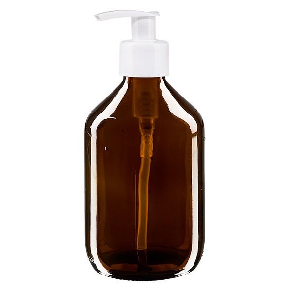 300ml Euro-Medizinflasche braun mit weisser Dispenserpumpe