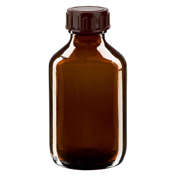 150ml Euro-Medizinflasche braun mit braunem Verschluss