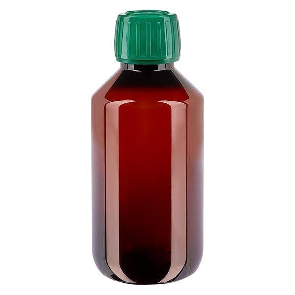 PET Medizinflasche 200ml braun (Veralflasche) PP28, mit grünem OV