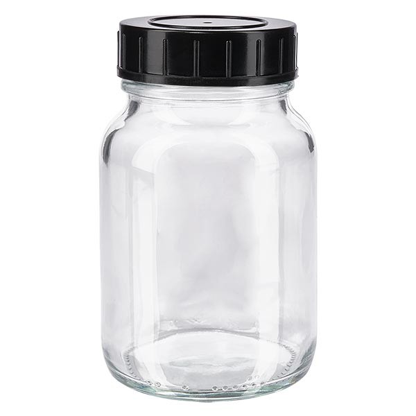 Weithalsflasche 250ml Klarglas mit Schraubdeckel