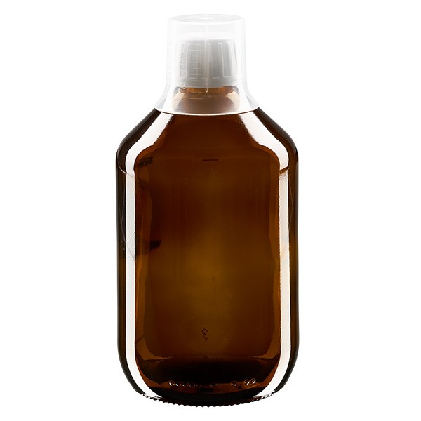 500 ml Euro-Medizinflaschen mit weissem Schraubverschluss und Dosierbecher 30ml