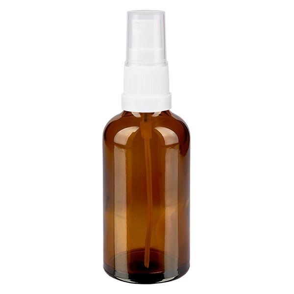 Braunglasflasche 50ml mit Pumpzerstäuber weiss